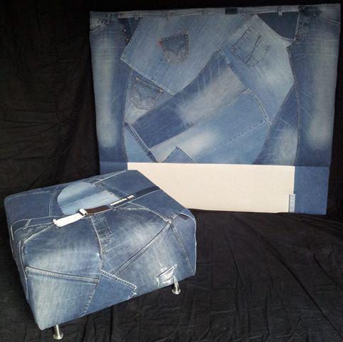 Tête de lit en vieux jeans récup'