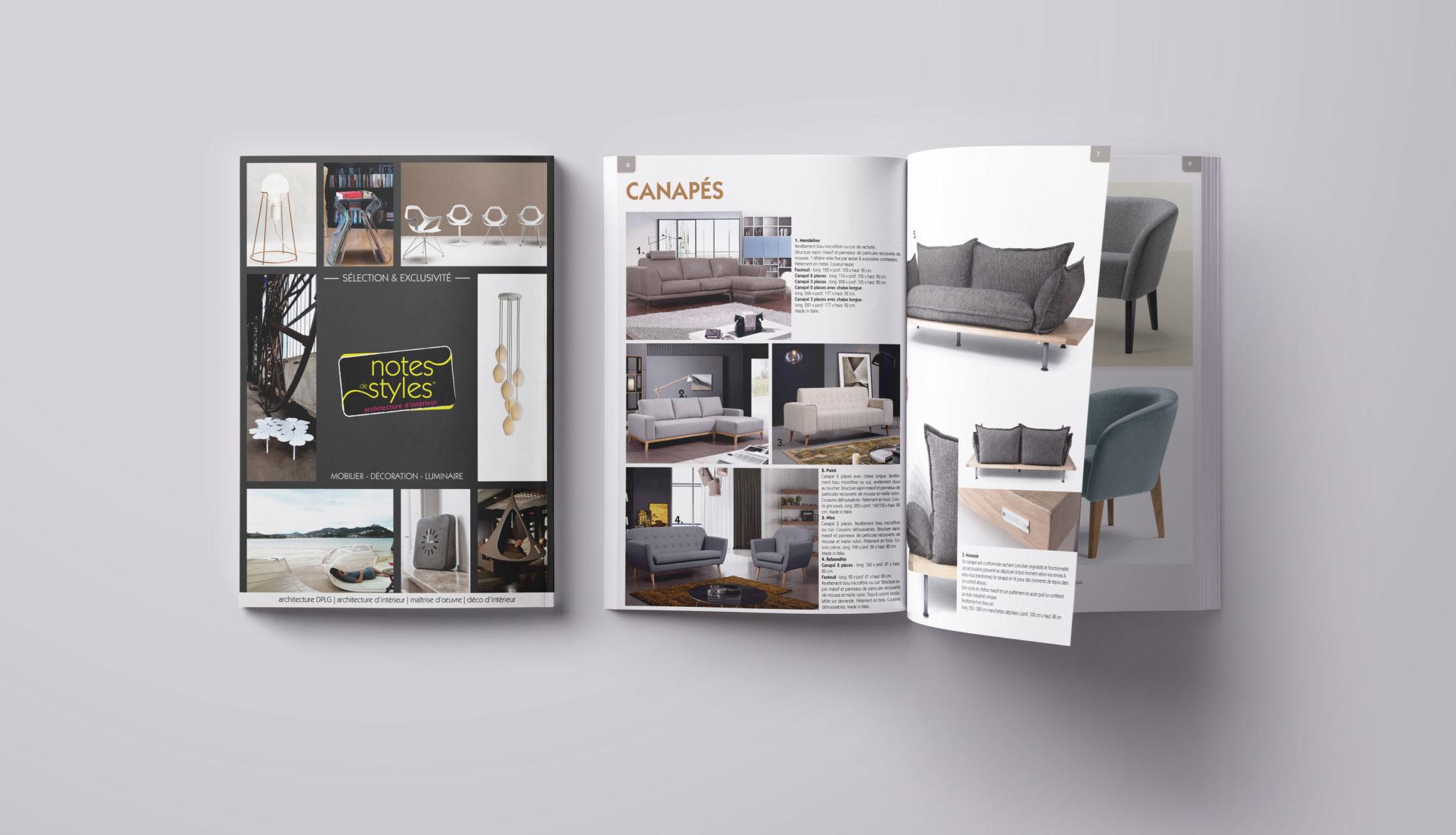 Notes de Styles, catalogue produits réalisé par Matthieu Loigerot