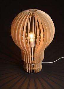 Lampe ampoule bois