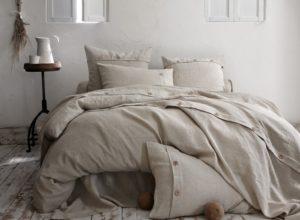 Linge de lit naturel en lin, chambre d'amis Notes de Styles