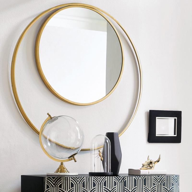 Miroir rond double encadrement doré - Maisons du Monde