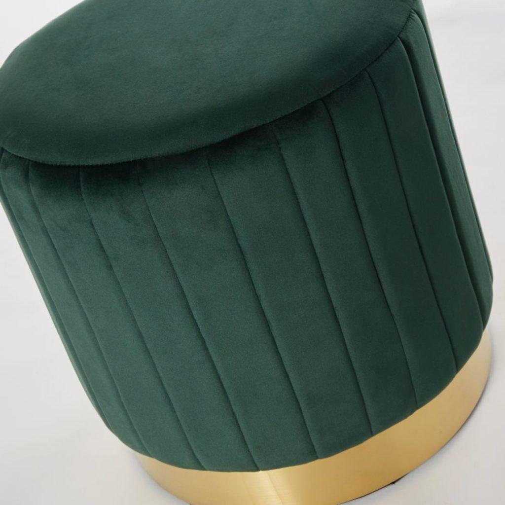 Pouf velours vert et métal doré - Maisons du Monde