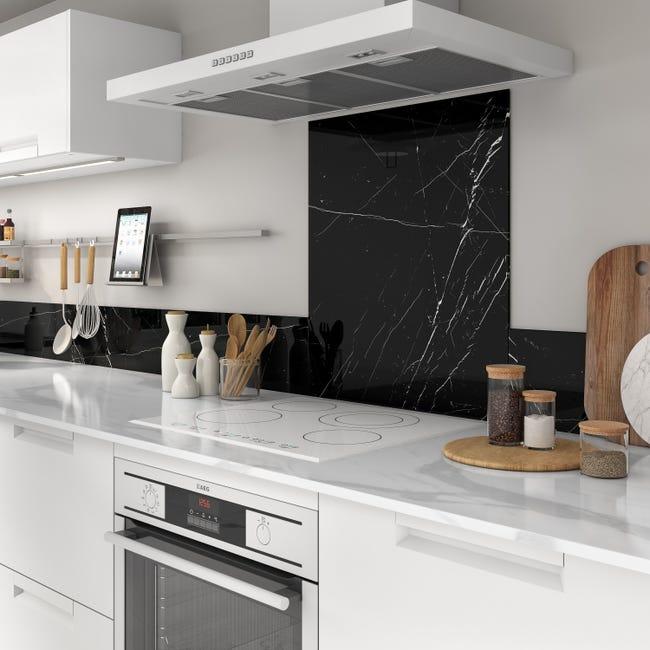 Crédence en verre imitation marbre noir - Leroy Merlin