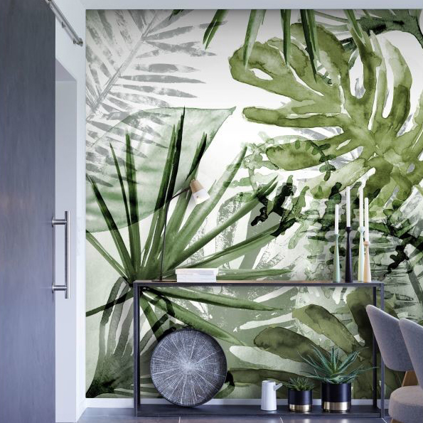 Papier peint digital nature monstera vert - Conforama