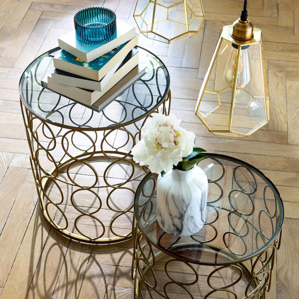 Tables d'appoint en métal doré - Atmosphera